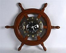 A RETRO JAPANESE LANDEX 'SHIPS WHEEL' WALL CLOCK. 2Ft wide.