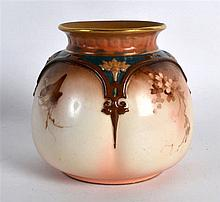 """Hadley's Worcester """"FAIENCE"""" vase painted with birds and flowers in sepia m"""