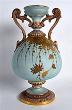 Grainger's Worcester, twin handled pedestal vase having applied gilt foliat