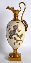 Royal Worcester elegant ewer painted with roses highlighted in gold on an i
