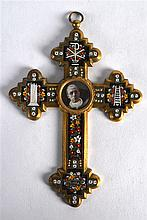 A 19TH CENTURY ITALIAN BRONZE AND MICRO MOSAIC CROSS decorated with flowers