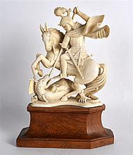 A GOOD 19TH CENTURY CARVED IVORY FIGURE OF SAINT GEORGE AND THE DRAGON mode