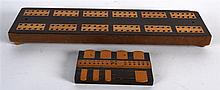 A VICTORIAN ROSEWOOD AND BOXWOOD CRIBBAGE BOARD together with a bezique mar