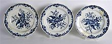 A selection of plates and dishes including 18th Century Worcester blue and white