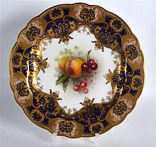 Royal Worcester fine plate painted with fruit by R. Sebright, signed date c
