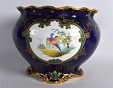 Royal crown Derby fine jardinière painted with birds in landscape by A.F. W