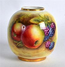 A SMALL ROYAL WORCESTER FRUIT PAINTED POT by D Bowkett. 3Ins wide.