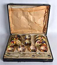 A LOVELY ROYAL WORCESTER CASED FRUIT PAINTED CUPS AND SAUCERS by various ar