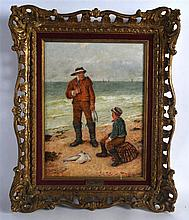 HAMILTON MACALLUM (1841-1896), FRAMED OIL ON CANVAS, a fisherman with his s