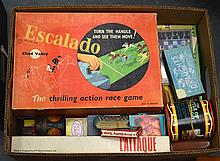 A BOX OF VINTAGE BOARD GAMES AND CARDS. (qty)