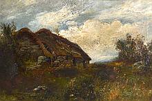 BRITISH SCHOOL (1900), FRAMED OIL ON CANVAS, cottage in a landscape. 1 ft.