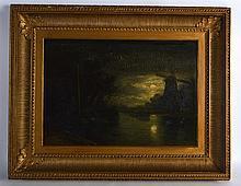 BRITISH SCHOOL (19TH CENTURY), FRAMED OIL ON PANEL, River scene. 1 ft. x 1