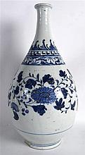 A GOOD KOREAN CHOSON PORCELAIN BOTTLE VASE painted in underglaze blue with