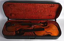 A RARE PAIR OF EARLY 20TH CENTURY ENGLISH VIOLINS within an unusual double
