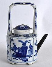 A CHINESE QING DYNASTY BLUE AND WHITE PORCELAIN WINE POT AND COVER painted