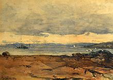 C HOUSTON (1994), FRAMED WATERCOLOUR, signed & dated, Beach Landscape. 9.5i