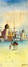 HA LINTON (19TH/20TH CENTURY), FRAMED WATERCOLOUR, a man leading his camel,