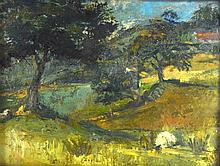 BRITISH SCHOOL (20 CENTURY), FRAMED OIL ON BOARD, unsigned, river in a land