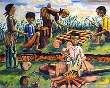 AFRICAN SCHOOL, FRAMED PASTEL, SIGNED ALO, FIGURES BUILDING IN A LANDSCAPE.