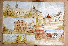 BRITISH SCHOOL, Framed Watercolour, Street scenes. 9.5ins x 1 ft. 2ins.