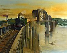 MPC (BRITISH), FRAMED OIL ON PANEL, signed & dated 93, A Train travelling o