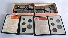 TWO CASED BRITAINS FIRST DECIMAL COINS together with a collection of Church