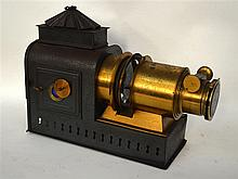 A VICTORIAN PAGODA TOP MAGIC LANTERN. 1Ft 2ins wide.