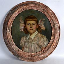 English School (C1910) Framed oil on canvas, 'Pink Ribbons', within an imit
