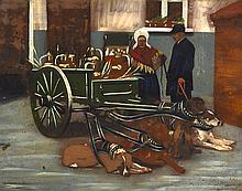 Dutch School (19th Century) Unframed oil on board 'Hounds and Cart'. 10.75i