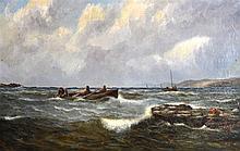 SCOTTISH SCHOOL, UNFRAMED OIL ON CANVAS, fishermen in choppy waters. 1 ft.