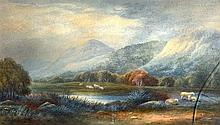 J Smith (19th Century) Framed Watercolour, 'Sheep within a landscape'. 1Ft