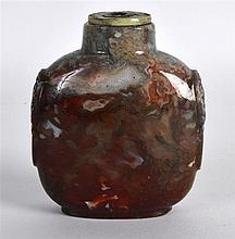 A LARGE EARLY 20TH CENTURY CHINESE CARVED MOSS AGATE SNUFF BOTTLE of reddis