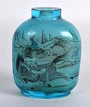 AN UNUSUAL EARLY 20TH CENTURY CHINESE REVERSE PAINTED BLUE SNUFF BOTTLE dec