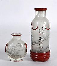 A CHINESE REPUBLICAN PERIOD REVERSE PAINTED FROSTED GLASS SNUFF BOTTLE toge
