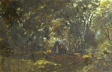 RAE (BRITISH), FRAMED OIL ON BOARD, signed, Peasants in a forrest clearing.