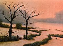 Michael John Hill (Born 1956) Framed Oil on board, Sunset Landscape, 1ft 2i