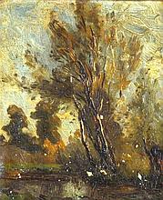 Henry George Moon (1857-1905) Framed oil on canvas, 'Rural scene'. 7.75ins