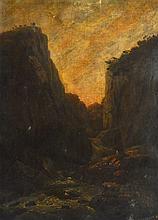 BRITISH (19TH CENTURY),UN FRAMED OIL ON CANVAS, Mountainous River Landscape