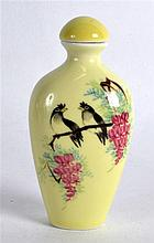 A CHINESE YELLOW GROUND PORCELAIN SNUFF BOTTLE AND STOPPER 20th Century, pa