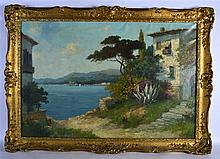 CONTINENTAL SCHOOL, FRAMED OIL ON CANVAS, indistinctly signed, coastal view