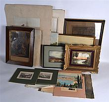 A LARGE QTY OF WATERCOLOURS AND PRINTS.