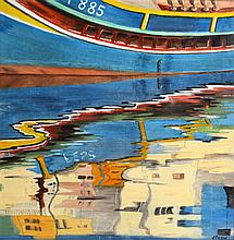 J Frew (20th Century) Framed Oil on board, 'Harbour reflection'. 12.5ins sq