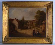 EUROPEAN SCHOOL (Early 20th Century), Framed Oil on Panel, Figures in a rur