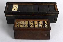 TWO VINTAGE BOXED SETS OF DOMINOS. (2)