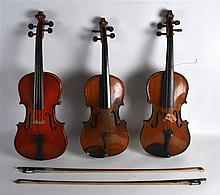 THREE CASED VIOLINS. (3)