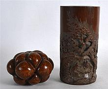 A 19TH CENTURY CHINESE CARVED BAMBOO BRUSH POT together with an engraved nu
