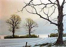 Michael John Hill (Born 1956) Framed Oil on board, Winter Landscape, 1ft 2i