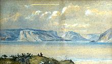 BRITISH SCHOOL, FRAMED WATERCOLOUR, Men fishing in a landscape. 11.5ins x 1