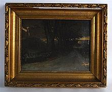 HUME NISBET (1849-1923), FRAMED OIL ON CANVAS, signed & dated, dark winter