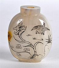 A RARE AND UNUSUAL EARLY 20TH CENTURY CHINESE CARVED AGATE SNUFF BOTTLE etc